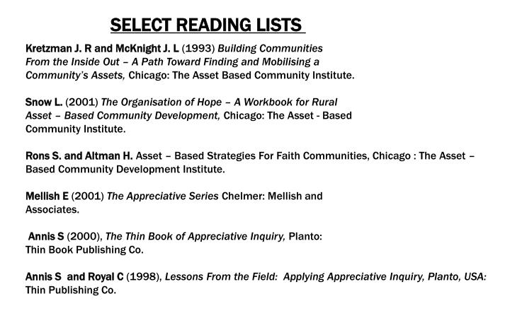 SELECT READING LISTS
