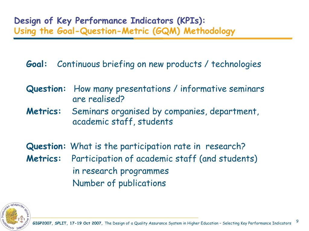 Design of Key Performance Indicators (KPIs):