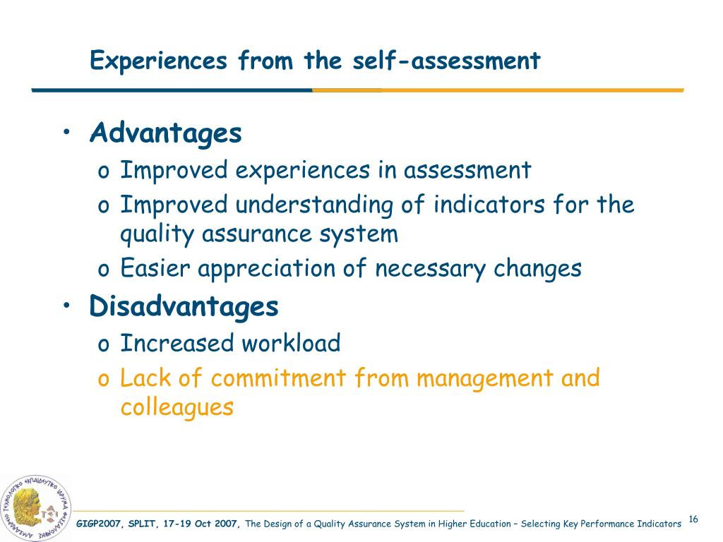 Experiences from the self-assessment