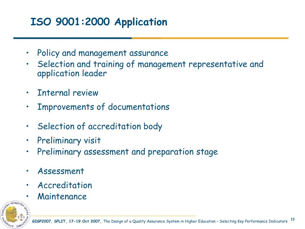 ISO 9001:2000 Application