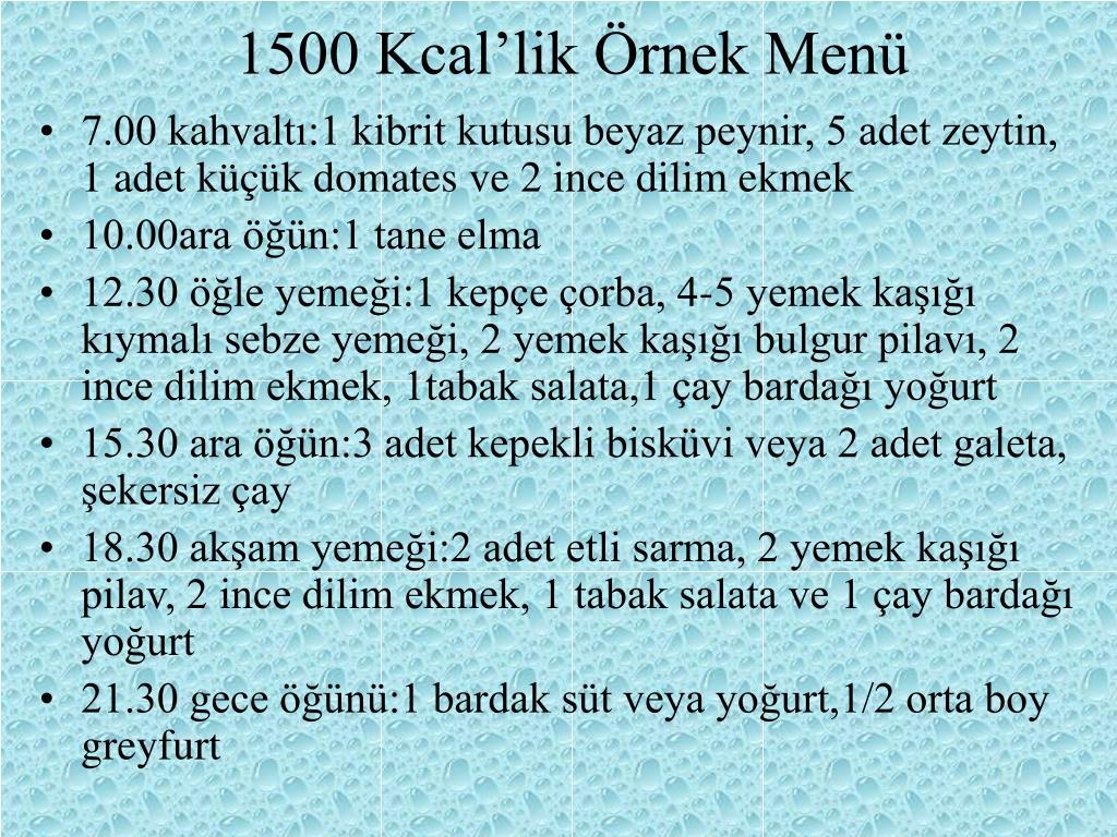 1500 Kcal'lik Örnek Menü