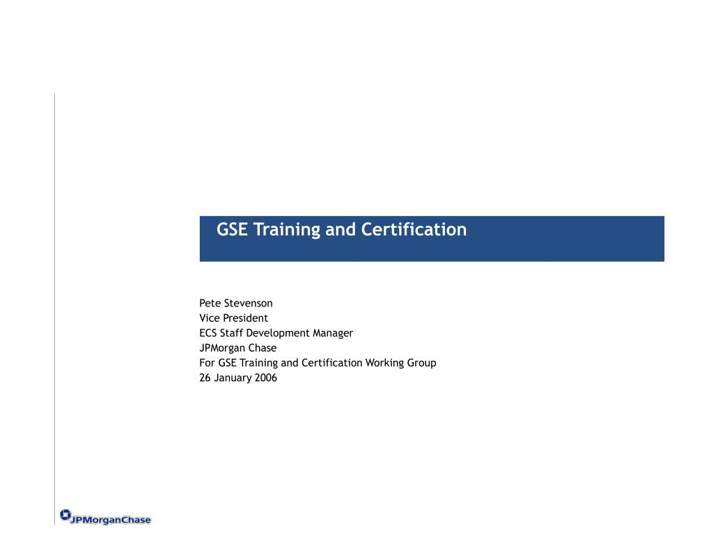 GSE Training and Certification