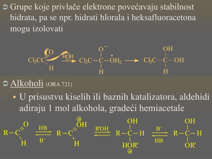 Grupe koje privlače elektrone povećavaju stabilnost hidrata, pa se npr. hidrati hlorala i heksafluoracetona mogu izolovati