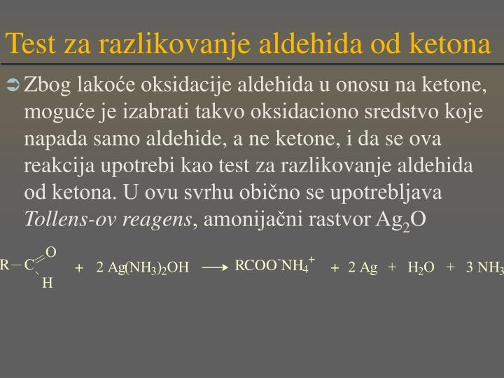 Test za razlikovanje aldehida od ketona