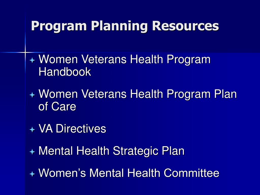 Program Planning Resources