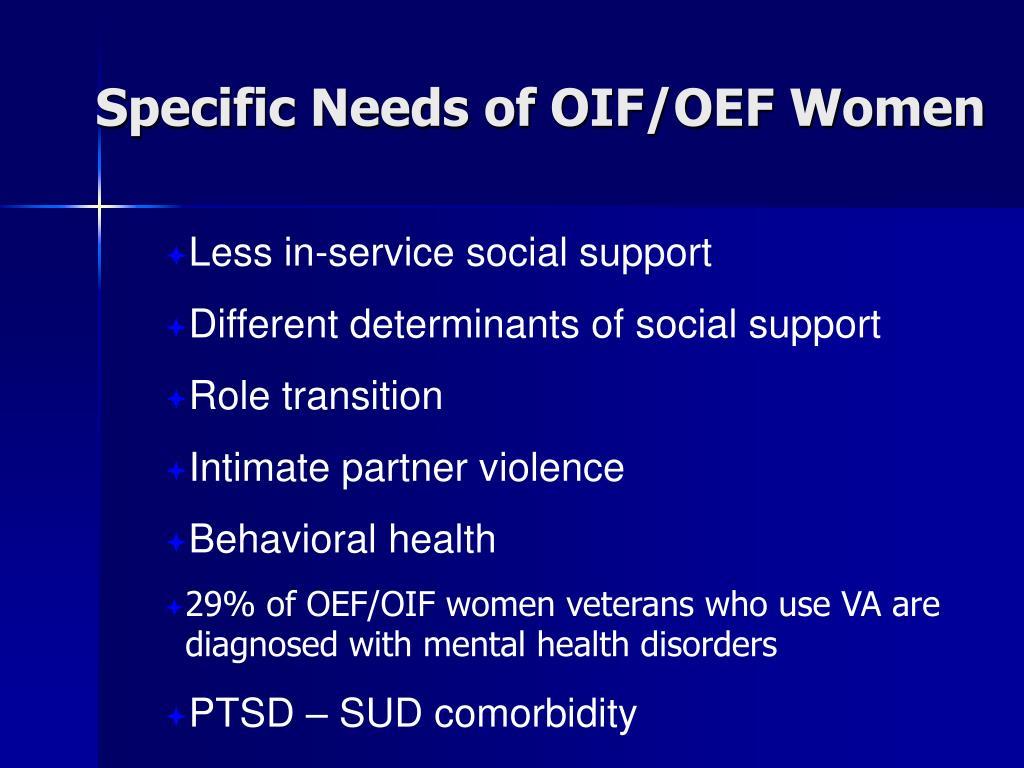 Specific Needs of OIF/OEF Women