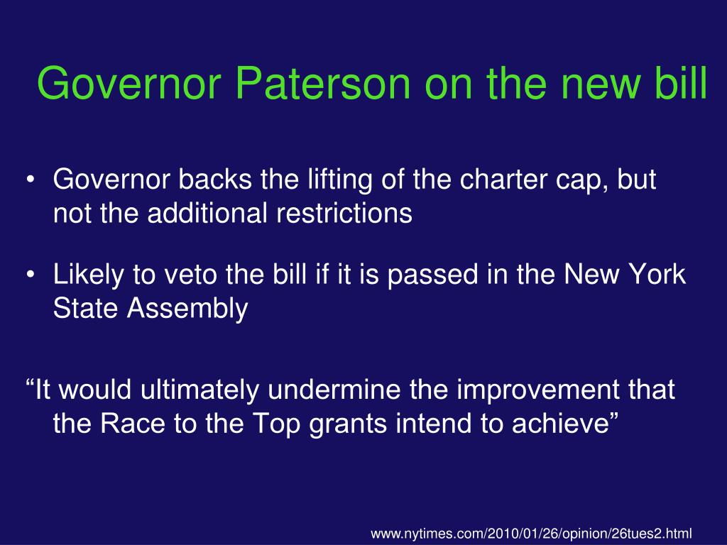 Governor Paterson on the new bill