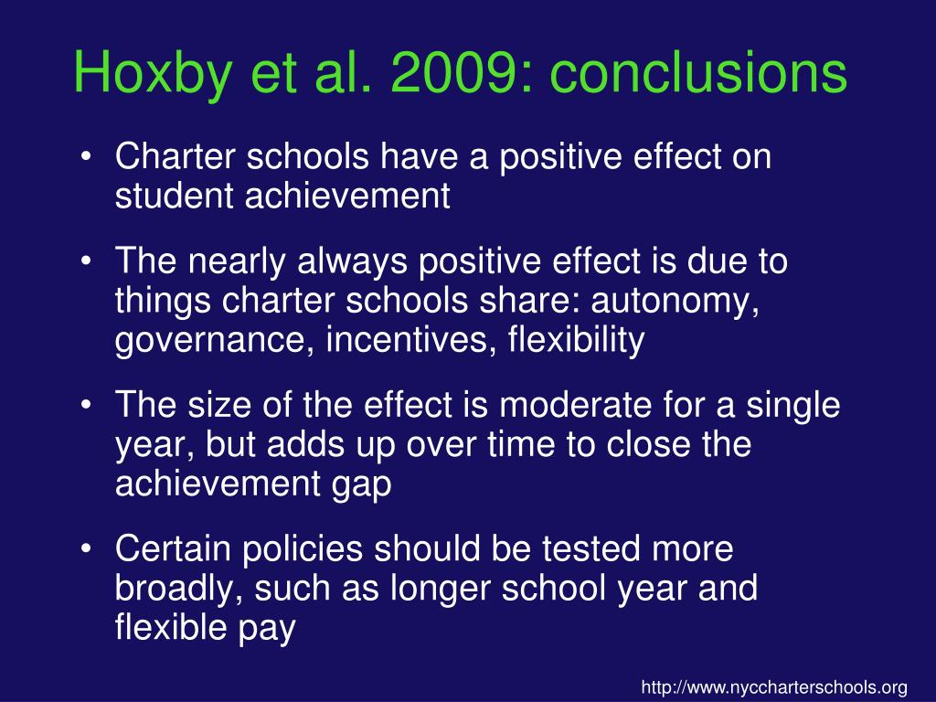 Hoxby et al. 2009: conclusions