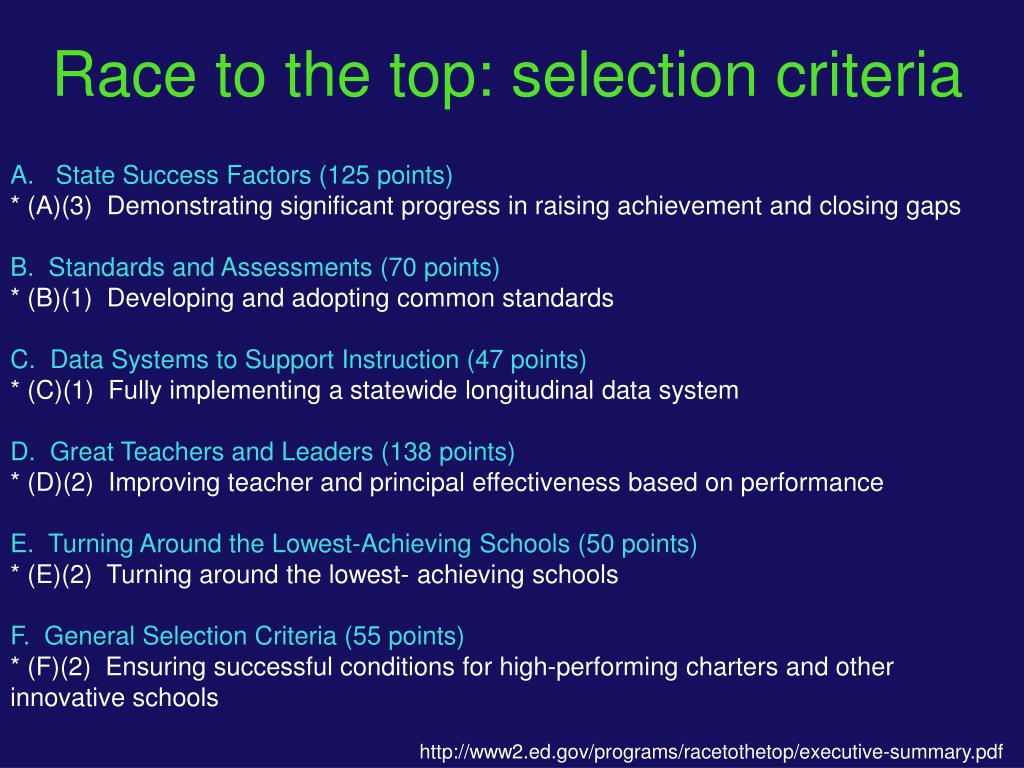 Race to the top: selection criteria