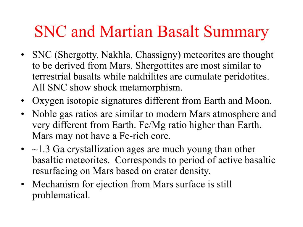 SNC and Martian Basalt Summary