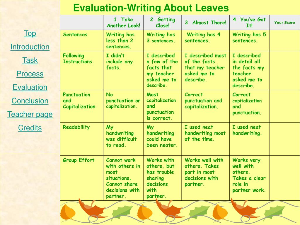 Evaluation-Writing About Leaves