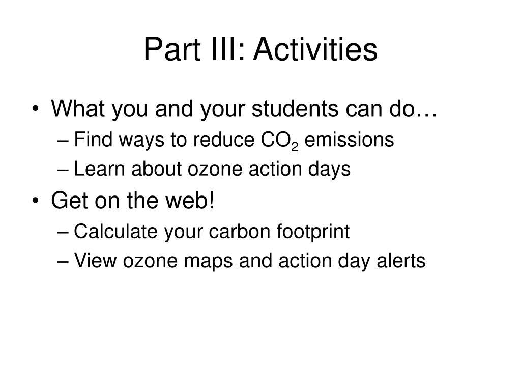 Part III: Activities