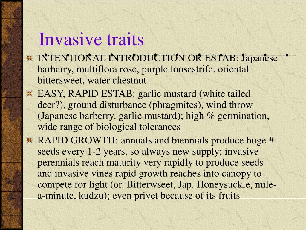 Invasive traits
