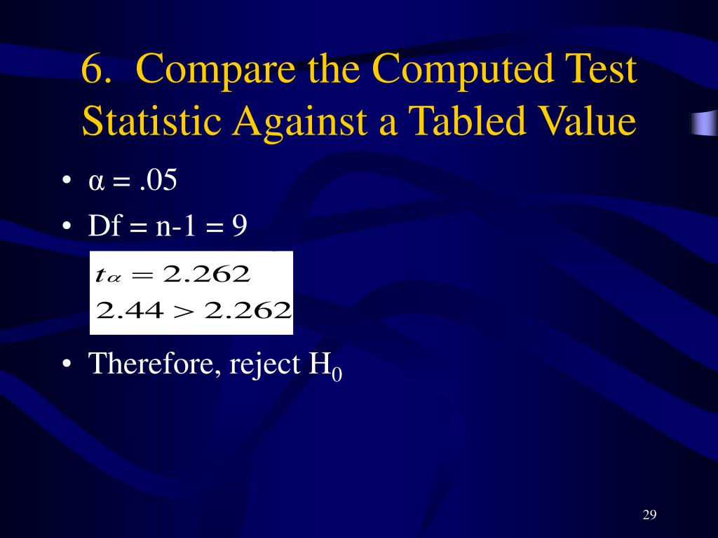 6.  Compare the Computed Test Statistic Against a Tabled Value