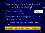 constructing a confidence interval for for the example
