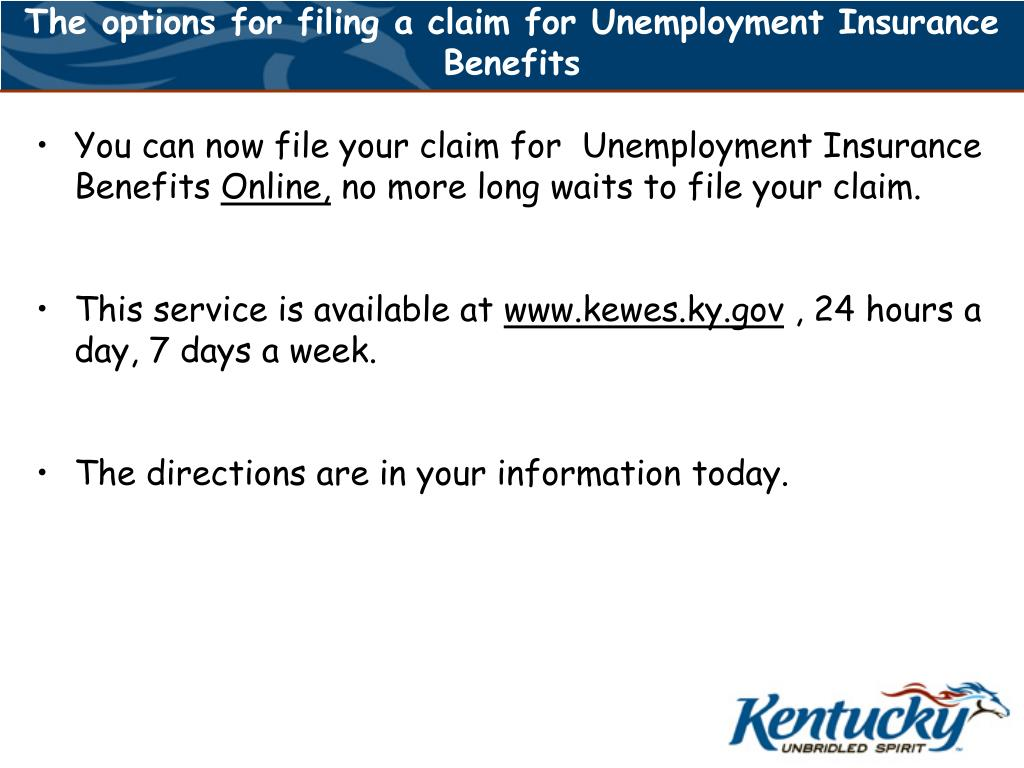 The options for filing a claim for Unemployment Insurance Benefits