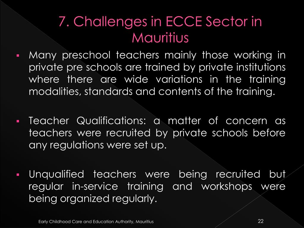 7. Challenges in ECCE Sector in Mauritius