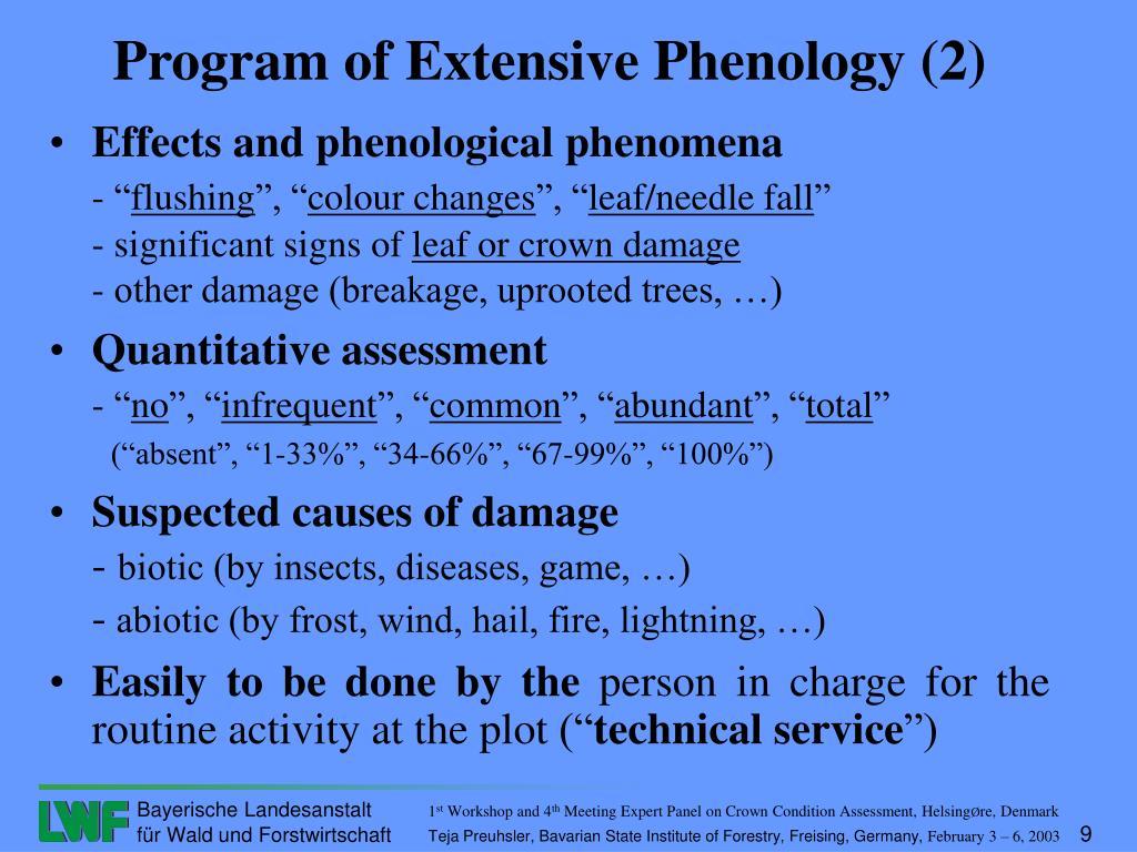 Effects and phenological phenomena
