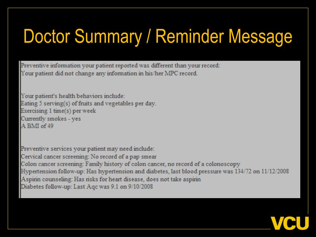 Doctor Summary / Reminder Message