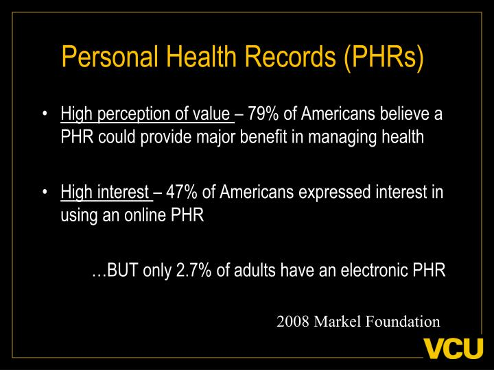 Personal health records phrs