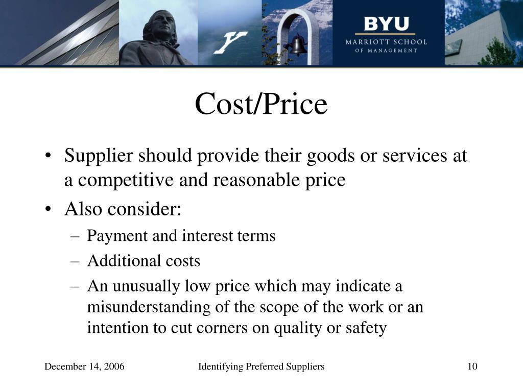 Cost/Price