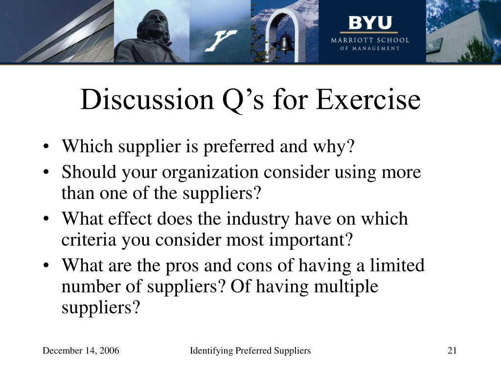 Discussion Q's for Exercise