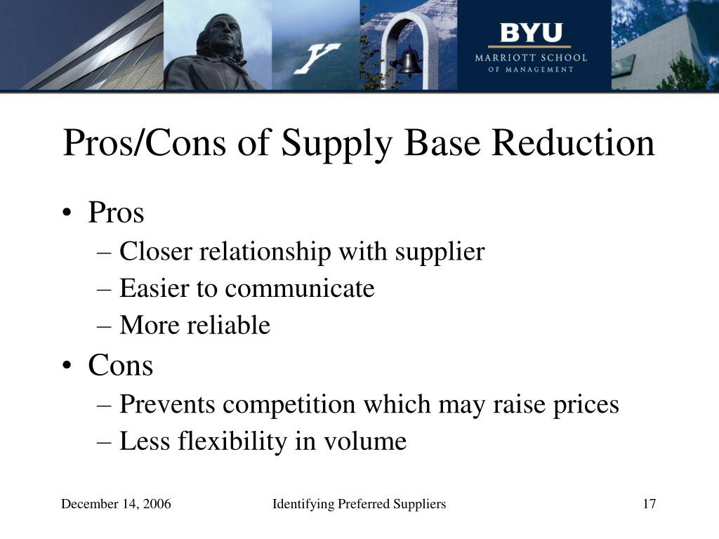Pros/Cons of Supply Base Reduction