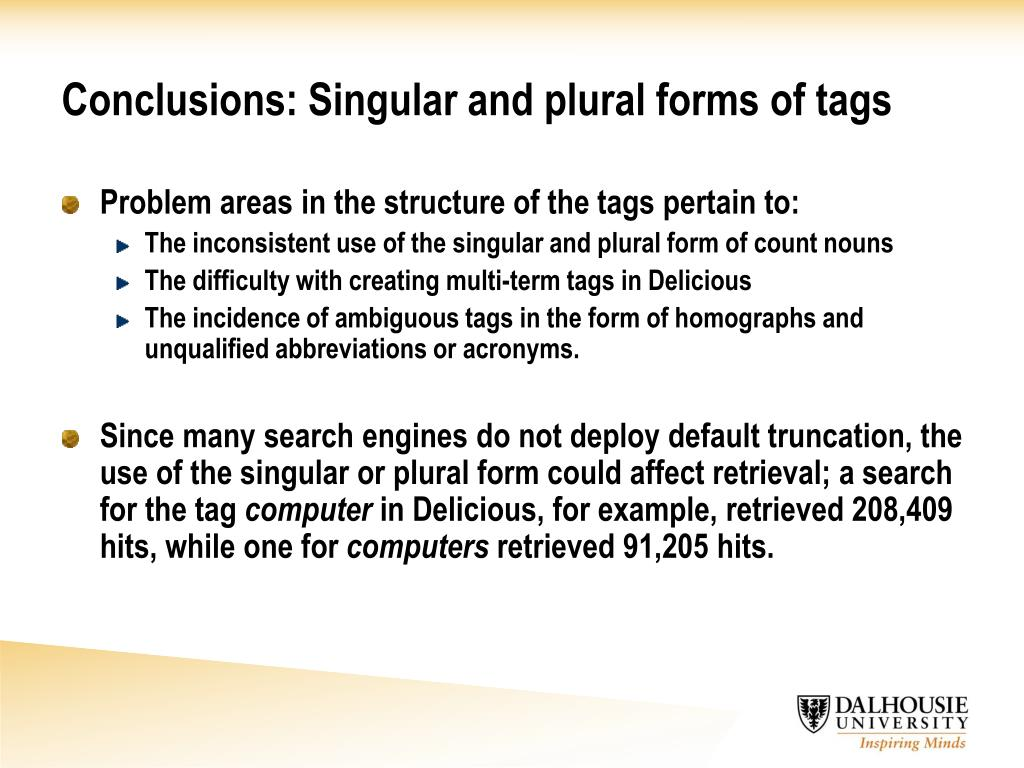 Conclusions: Singular and plural forms of tags
