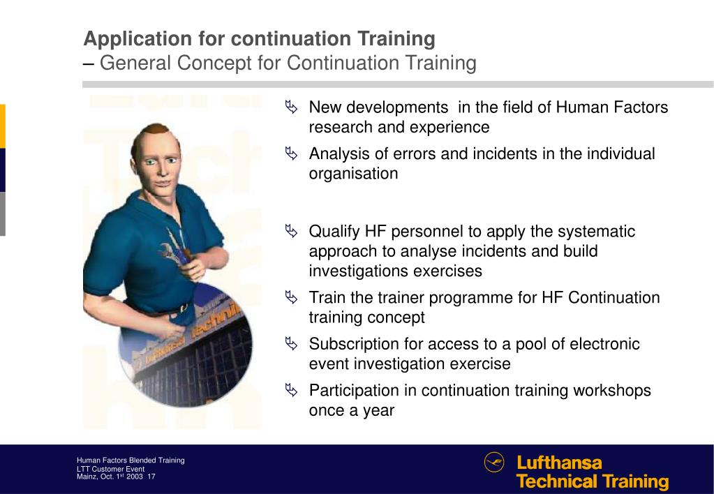 Application for continuation Training