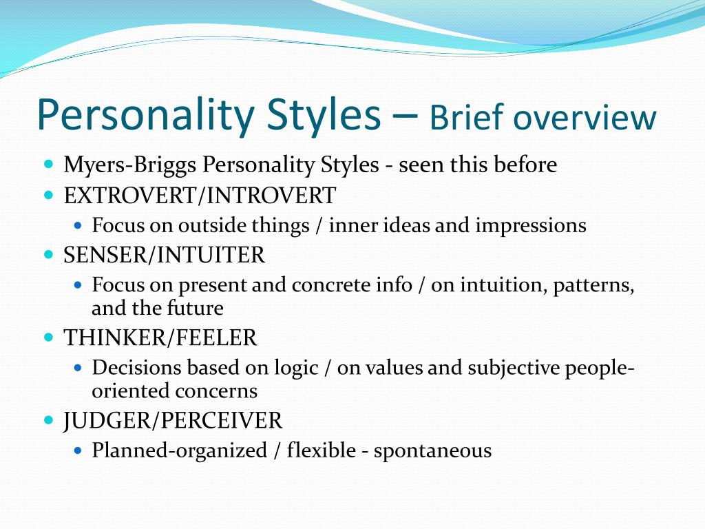 Personality Styles –