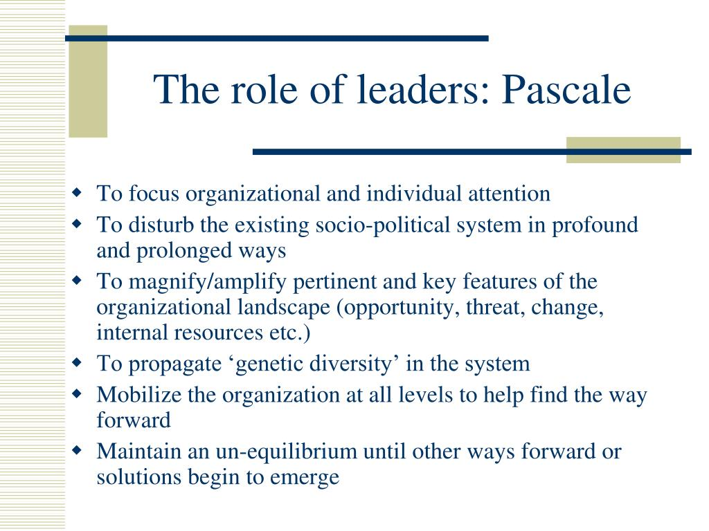 The role of leaders: Pascale