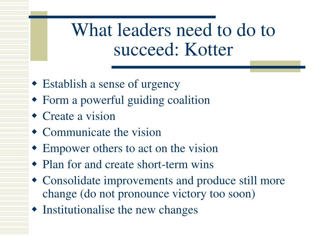 What leaders need to do to succeed: Kotter