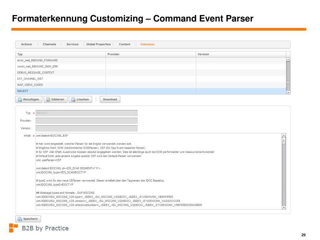 Formaterkennung Customizing – Command Event Parser