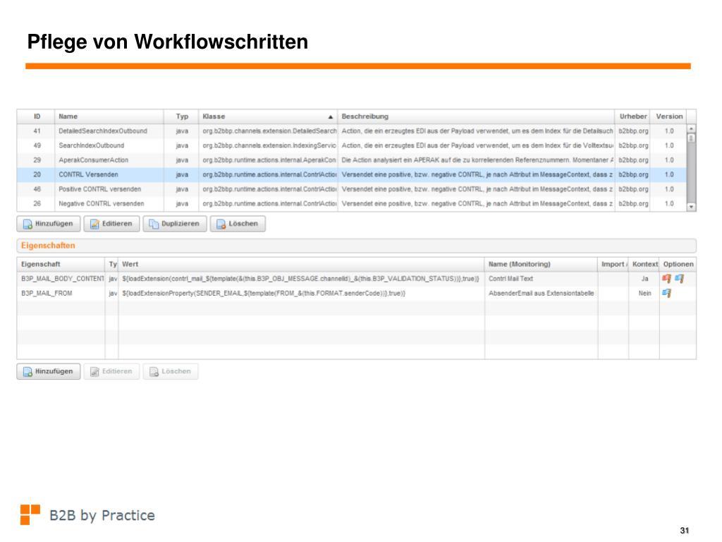 Pflege von Workflowschritten