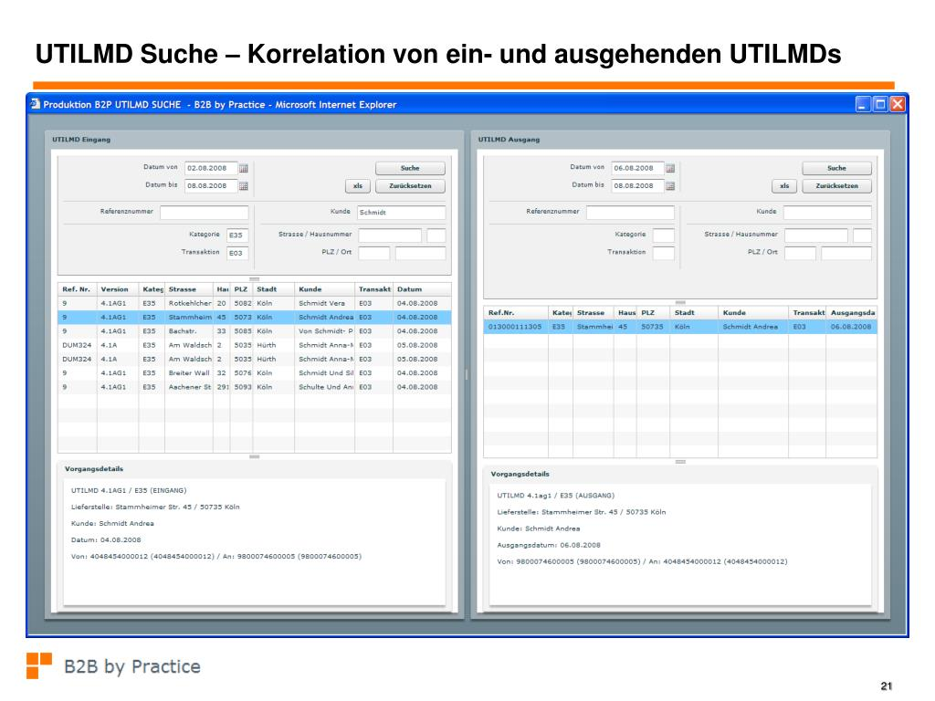 UTILMD Suche – Korrelation von ein- und ausgehenden UTILMDs