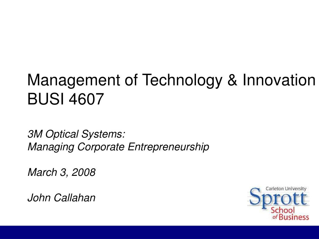 Management of Technology & Innovation