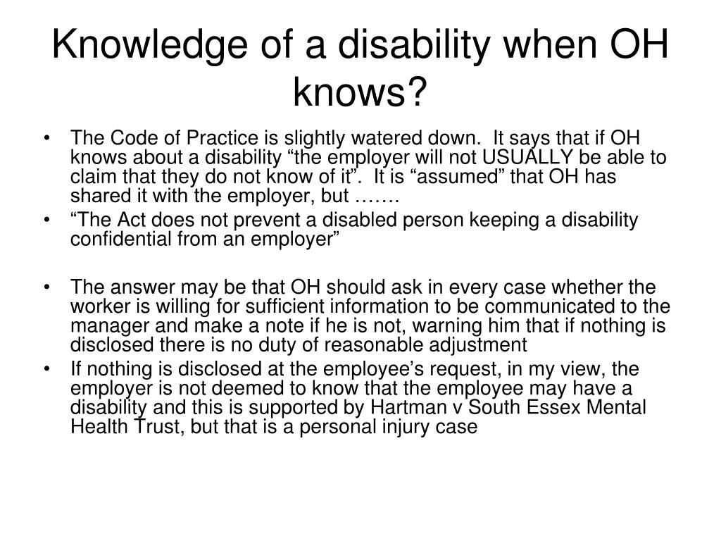 Knowledge of a disability when OH knows?