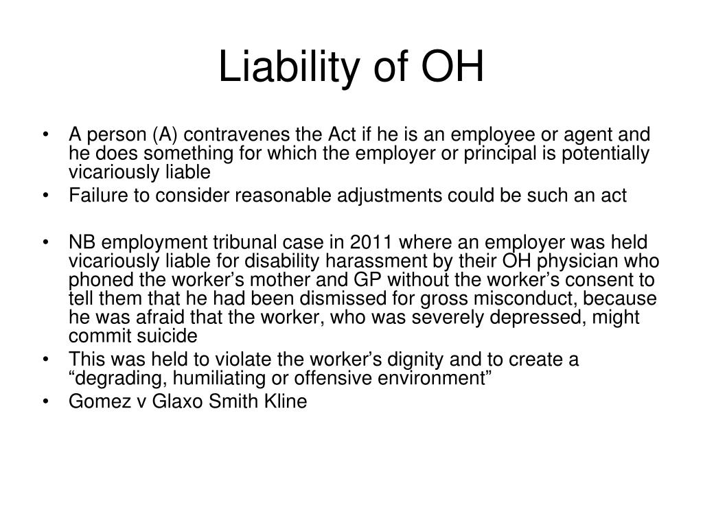 Liability of OH