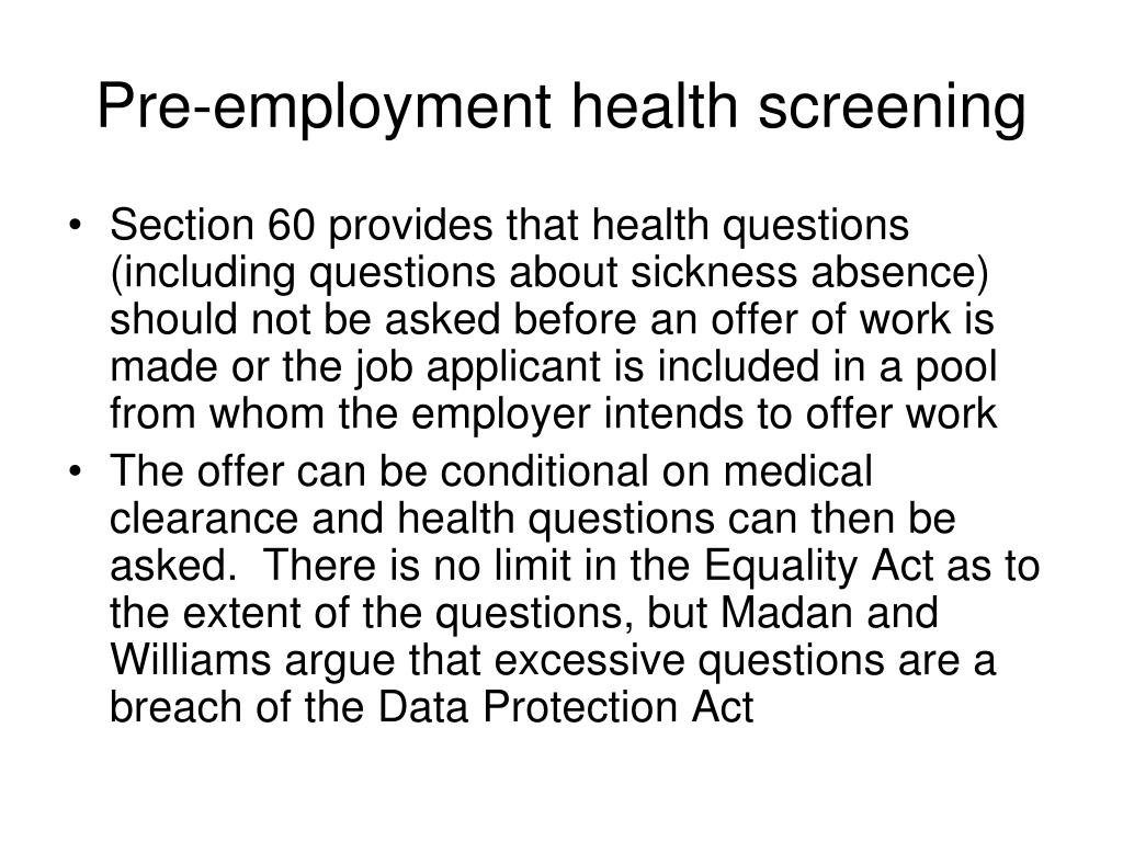 Pre-employment health screening