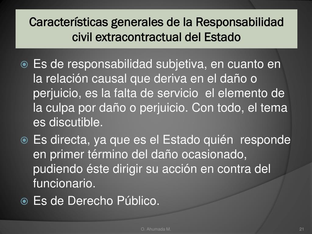 Características generales de la Responsabilidad  civil extracontractual del Estado