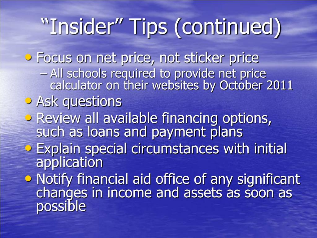 """Insider"" Tips (continued)"