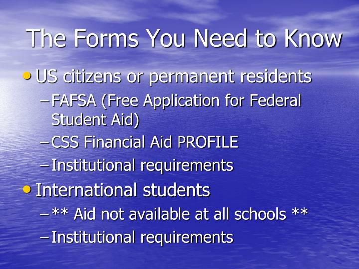 The forms you need to know