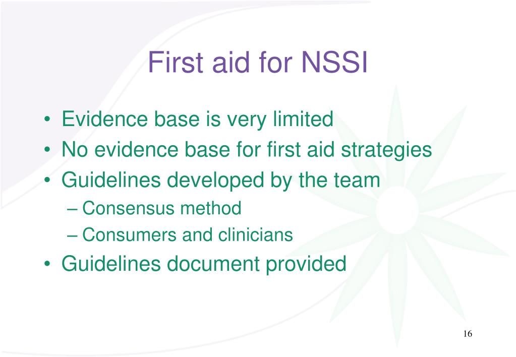 First aid for NSSI
