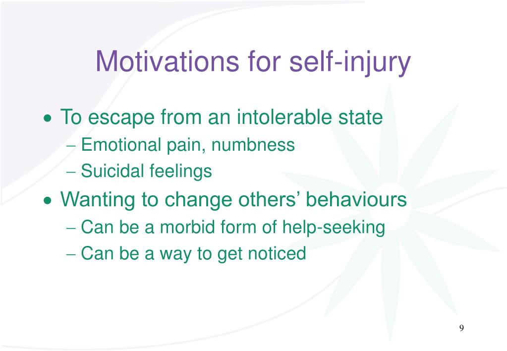 Motivations for self-injury
