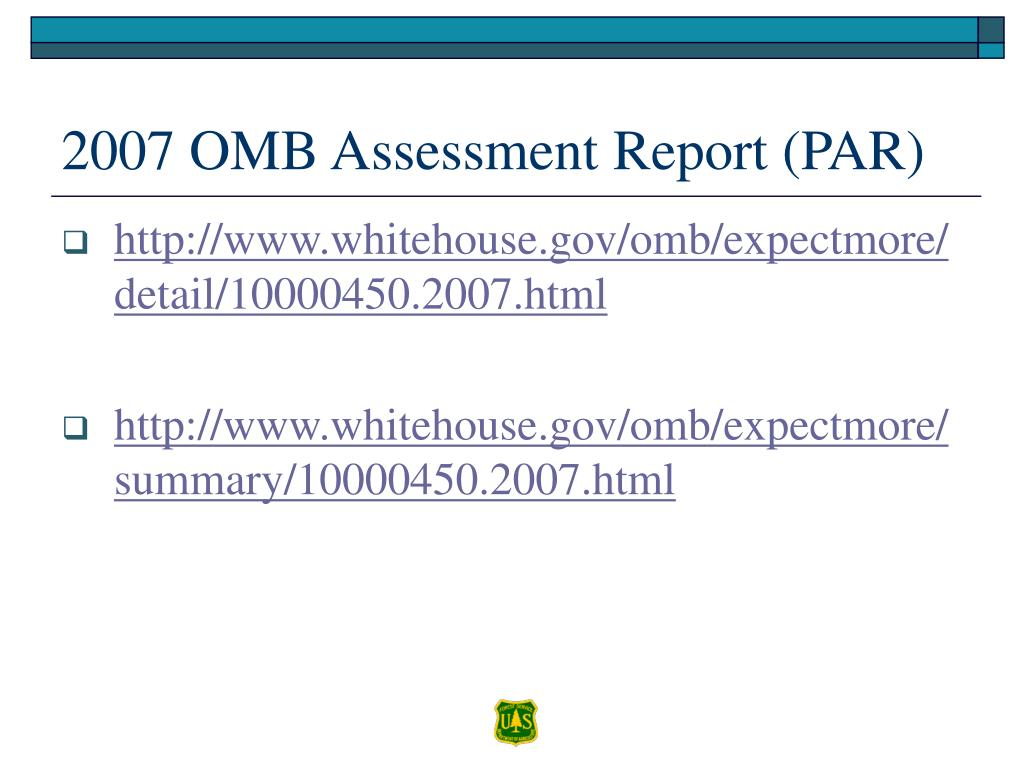 2007 OMB Assessment Report (PAR)