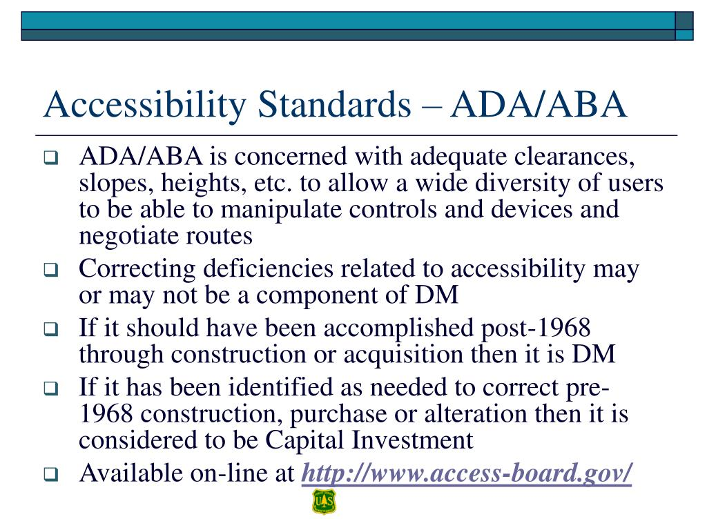 Accessibility Standards – ADA/ABA