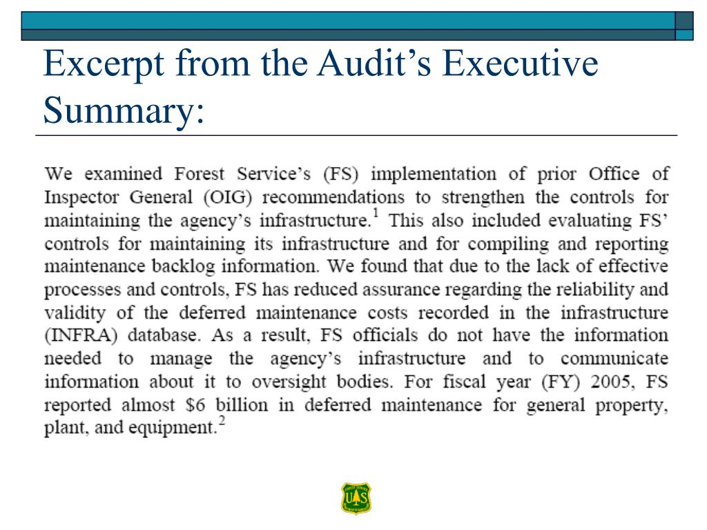 Excerpt from the Audit's Executive Summary: