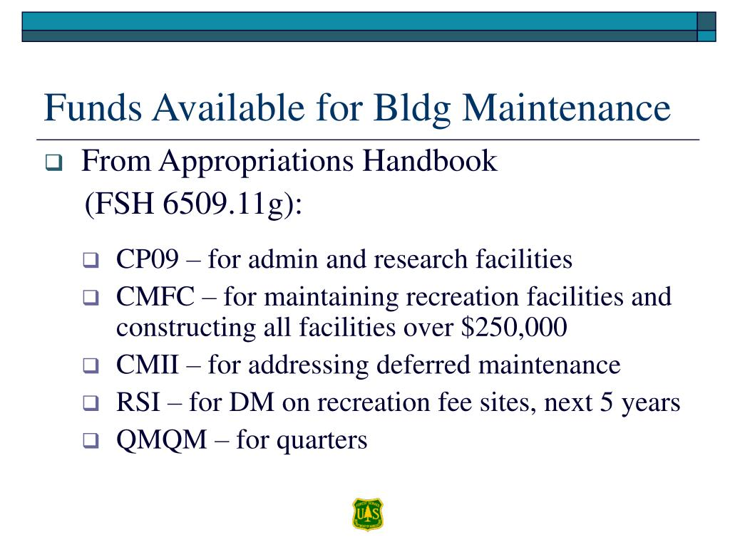 Funds Available for Bldg Maintenance