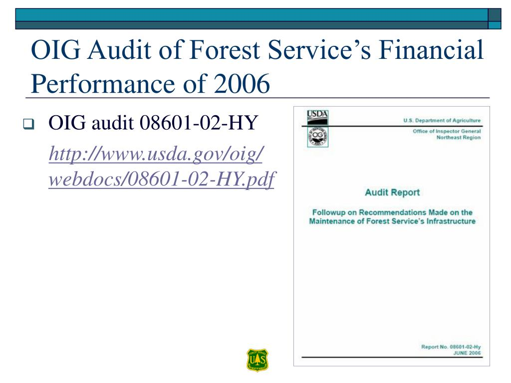 OIG Audit of Forest Service's Financial Performance of 2006