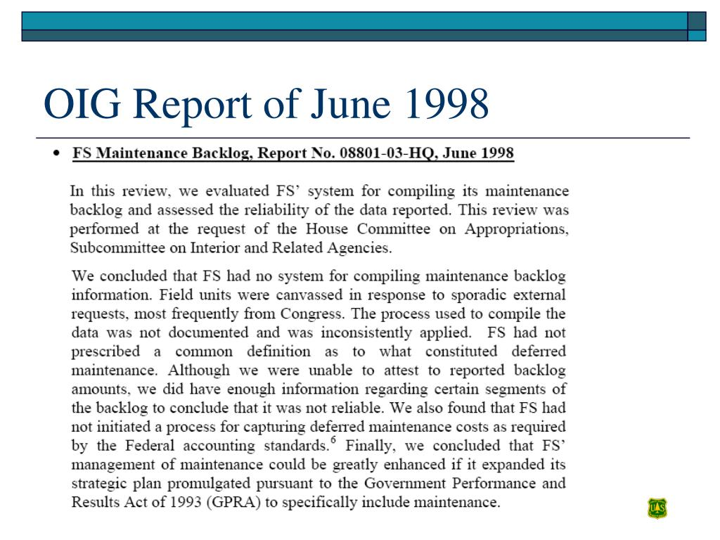 OIG Report of June 1998